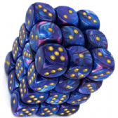 Purple & Gold Lustrous 12mm D6 Dice Block
